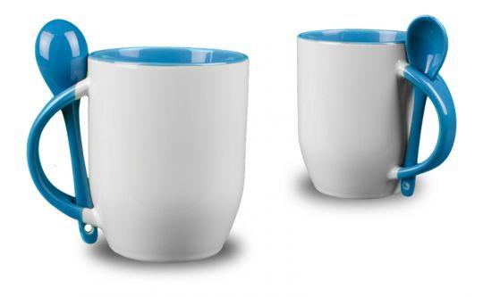 pastell blaue l ffeltasse bedrucken fototasse mit l ffel. Black Bedroom Furniture Sets. Home Design Ideas