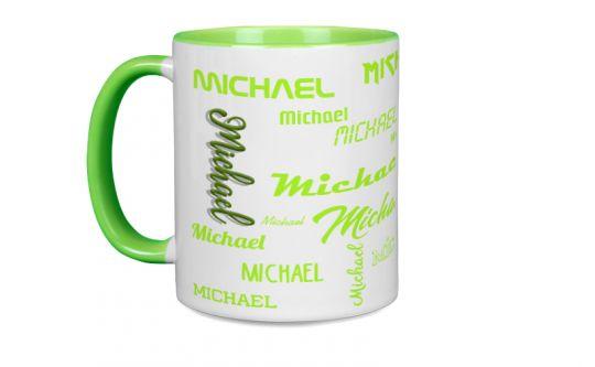 Hellgrüne Tasse mit Deinem Namen oder Wunschtext bedruckt