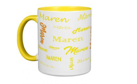 Gelbe Tasse mit Deinem Wunschnamen oder Wunschtext