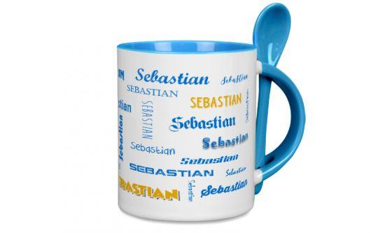 Hellblaue Löffeltasse mit Wunschtext oder Namen bedrucken
