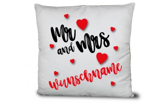Mr. & Mrs. Liebes-Kissen mit Namen der Wunschtext