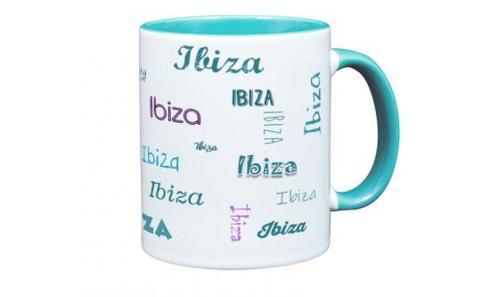 Namenstasse in Türkis mit Wunschtext oder Wunschnamen farbig bedruckt