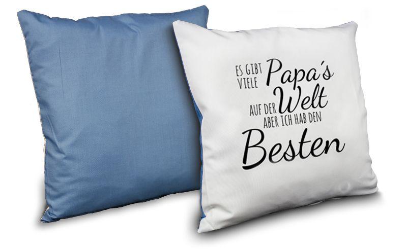 blaues fotokissen zum selber gestalten und bedrucken als geschenkidee. Black Bedroom Furniture Sets. Home Design Ideas