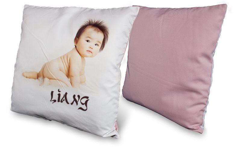 Foto-Kissen in Pink mit Foto gestalten und bedrucken.