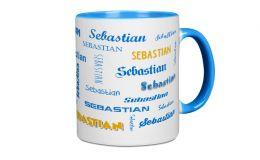 Hellblauer Kaffee-Becher mit Deinem Namen bedruckt