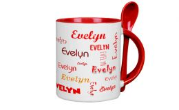 Roter Löffelbecher mit Namen oder Wunschtext bedrucken