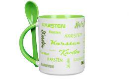 Hellgrüne Löffeltasse mit Deinem Namen oder Wunschtext