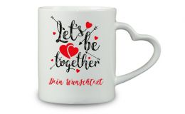 Kaffeebecher Lets be together mit Wunschtext oder Namen