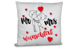 Mr. & Mrs. Pärchen Kissen mit Namen der Wunschtext
