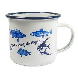 Emaille Becher mit blauen Trinkrand, 350 ml