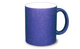Matt blaue Zaubertasse mit Glitter-Effekt